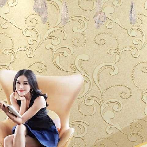 10 M Eropa Wallpaper Bunga 3D Relief Luxury Desain Dinding Kertas Dinding Seni Ruang Tamu Kamar Tidur TV Sofa Latar Belakang Non -woven Wallpaper-Internasional 3