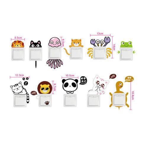 11 Buah/set Saklar Stiker Dinding Kartun Hewan Lucu Yang Dapat Membuat Orang Yang Melihatnya Tertawa Terbahak-bahak atau Justru Kesal Karena Merasa Dekorasi Kamar Stiker-Internasional 2