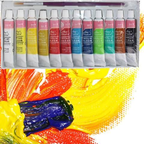 12 Warna Akrilik Profesional Set Melukis Dinding Lukis Tangan Lukisan Tekstil-Intl 4