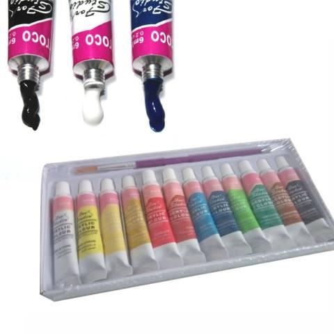 12 Warna Akrilik Profesional Set Melukis Dinding Lukis Tangan Lukisan Tekstil-Intl 3