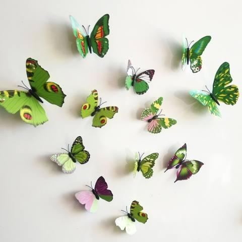 12 buah kreatif plastik warnawarni stereo 3D kupu-kupu hiasan stiker dinding (hijau) 2