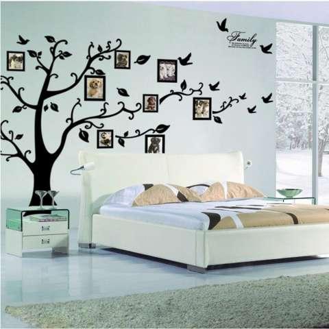 160 cm x 90 cm diseduh sendiri besar hitam yang dapat dilepas stiker dinding bingkai foto pohon dengan keluarga Quote Wallpaper untuk ruang tamu - International 2
