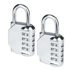 2 pcs 4 Digit Combination Padlock Portable Luggage Password Lock for Gym Sports School Employee Locker Outdoor Fence Hasp Storage Silver - intl