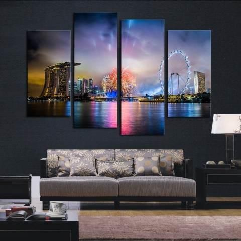 2017 Hot Sell 4 Panel Colorful City Night Besar Modern Dekorasi Dinding Rumah Kanvas Cetak Lukisan untuk Rumah Menghias 3