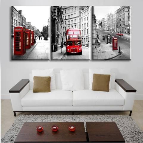 3Pcs Lukisan Kanvas Gambar Kota London Dekorasi Rumah Modern Minimalis (Tanpa Bingkai) 1