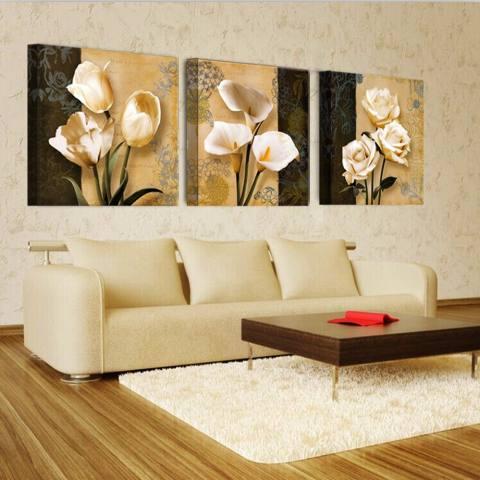 3 Panel Coklat Anggrek Modern Art Deco Mural Lukisan Dinding Ruang Tamu Di Foto Di Kanvas Cetak Lukisan Tidk- Internasional 3