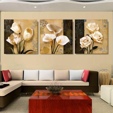 3 Panel Coklat Anggrek Modern Art Deco Mural Lukisan Dinding Ruang Tamu Di Foto Di Kanvas Cetak Lukisan Tidk- Internasional 1