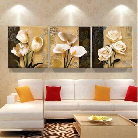 3 Panel Coklat Anggrek Modern Art Deco Mural Lukisan Dinding Ruang Tamu Di Foto Di Kanvas Cetak Lukisan Tidk- Internasional 2