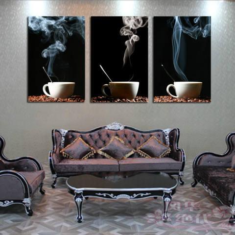 3 Panel Di Dinding Kopi Gambar Bintik-bintik Kanvas Seni Cetak Modern Dekorasi Kamar Dapur Rumah Makan Tidk-Internasional 3