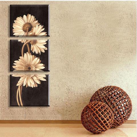 3 Panel Hot Jual Lukisan Dinding Modern Bunga Home Wall Art Foto Murah Paint On Canvas Cetakan Art Chrysanthemum (tanpa Bingkai) 3