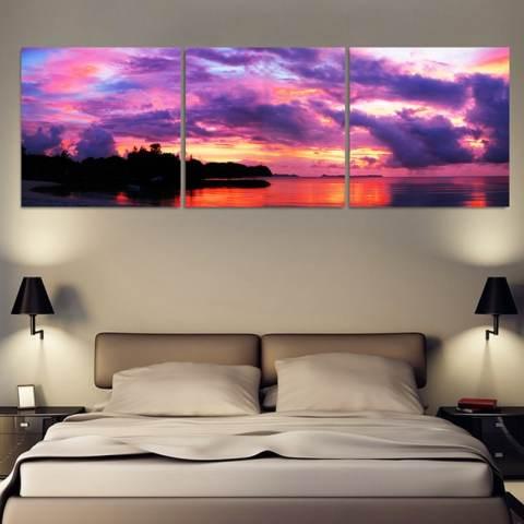 Unframed 3 Piece Lukisan Minyak Matahari Terbenam Tepi Laut Hiasan Dinding Rumah Gambar Seni Lukisan Pada Kanvas Cetakan (40X40 Cm) 1