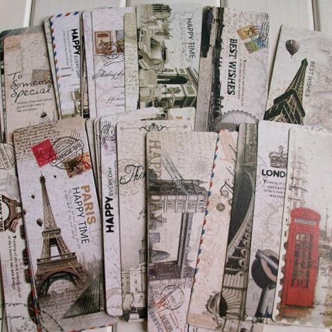 30 Buah Menara Eiffel Paris VINTAGE Retro Tanda Label Kertas Pembatas Buku 2