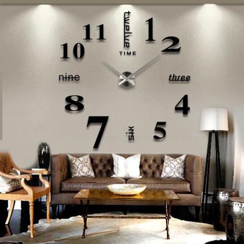 39''Diy Acrylic Acrylic Cermin Jam Dinding 3D Angka Desain Stiker Jam Hiasan Rumah Hadiah Seni 1
