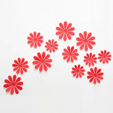 3D Stiker Tembok Seni Vinil Stiker Dekorasi Rumah Merah-Internasional 1