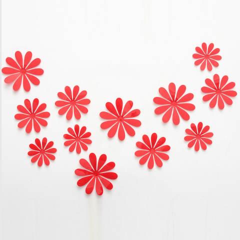 3D Stiker Tembok Seni Vinil Stiker Dekorasi Rumah Merah-Internasional 2