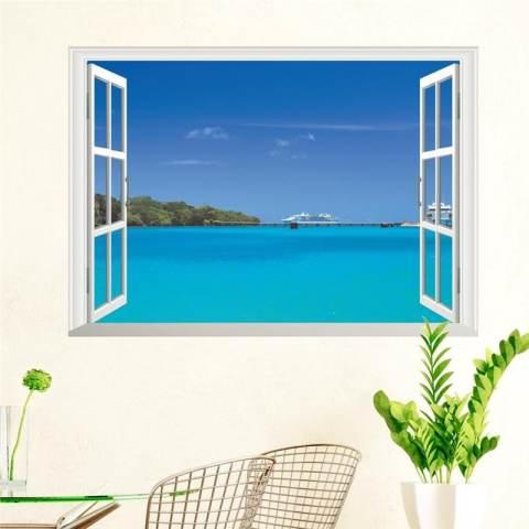 3D Stiker Buatan Sendiri Hawaii Sea View Beach Window Perekat Stiker Dinding Wallpaper untuk Latar Belakang Di Kamar Tidur Ruang Keluarga Dekorasi Rumah-Intl 2