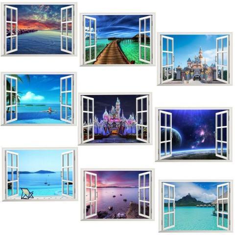 3D Lautan Samudra Hiasan Jendela Rumah Dinding Tempelan Dinding Stiker Yang Indah Mural Gambar Laut-Internasional 1
