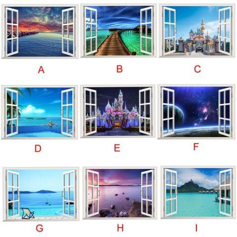 3D Lautan Samudra Hiasan Jendela Rumah Dinding Tempelan Dinding Stiker Yang Indah Mural Gambar Laut-Internasional 2
