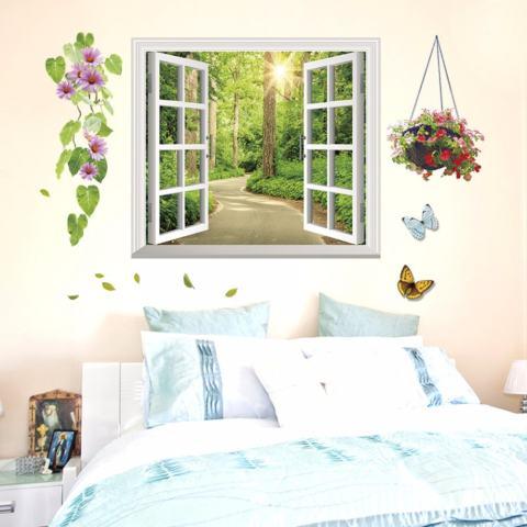 Mimosifolia 3D Windows Adalah Shade Ruang Tamu Dapur Wallpaper Sticker Stiker Dinding Kamar Tidur Anak-anak PVC Seni Mural Dekorasi Rumah Prasekolah Kelas Diri Perekat Dekoratif Wallpaper-Internasional 1