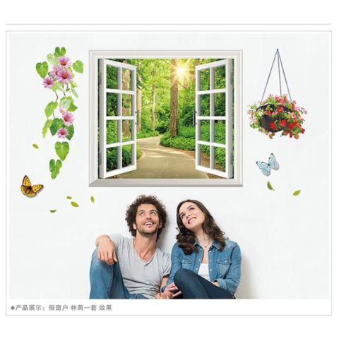 Mimosifolia 3D Windows Adalah Shade Ruang Tamu Dapur Wallpaper Sticker Stiker Dinding Kamar Tidur Anak-anak PVC Seni Mural Dekorasi Rumah Prasekolah Kelas Diri Perekat Dekoratif Wallpaper-Internasional 3