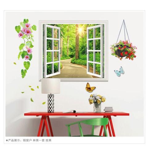 Mimosifolia 3D Windows Adalah Shade Ruang Tamu Dapur Wallpaper Sticker Stiker Dinding Kamar Tidur Anak-anak PVC Seni Mural Dekorasi Rumah Prasekolah Kelas Diri Perekat Dekoratif Wallpaper-Internasional 2