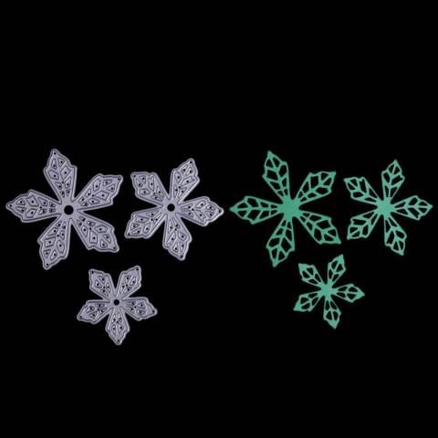 3 PC Daun Bunga Kepingan Salju Maple Daun Logam Cetakan Potongan-Intl 3