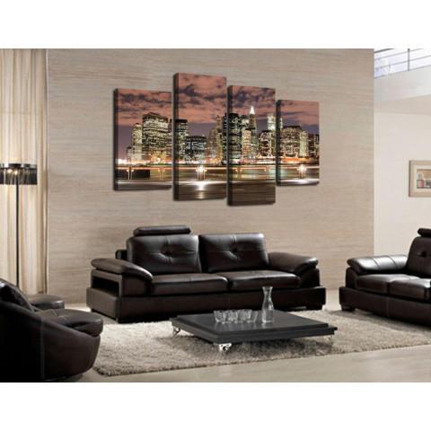 4 Panel Indah Malam Large Cities HD Gambar Rumah Dekorasi Dinding Kanvas Cetak Lukisan For Rumah Menghias Tanpa (tanpa Bingkai) 1