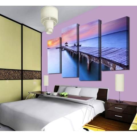 4 panel matahari terbenam yang indah dengan melihat rakit dengan gambar HD besar Modern dekorasi dinding rumah lukisan kanvas cetak untuk menghias rumah 1