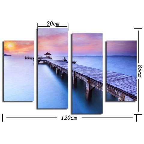 4 panel matahari terbenam yang indah dengan melihat rakit dengan gambar HD besar Modern dekorasi dinding rumah lukisan kanvas cetak untuk menghias rumah 3