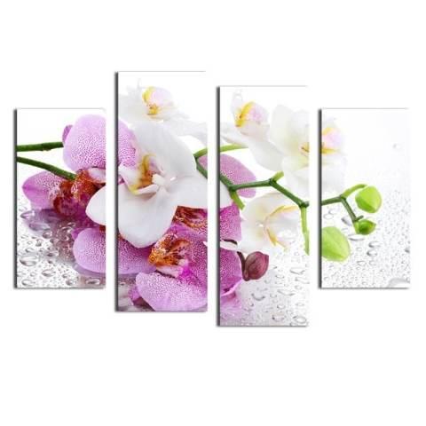 4 Pcs (Tanpa Bingkai) Pink Bunga Wall Art Gambar Dekorasi Rumah Modern Ruang Tamu atau Kamar Tidur Kanvas Cetak Lukisan Dinding Gambar 1