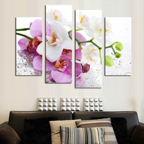 4 Pcs (Tanpa Bingkai) Pink Bunga Wall Art Gambar Dekorasi Rumah Modern Ruang Tamu atau Kamar Tidur Kanvas Cetak Lukisan Dinding Gambar 2