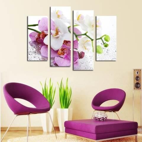 4 Pcs (Tanpa Bingkai) Pink Bunga Wall Art Gambar Dekorasi Rumah Modern Ruang Tamu atau Kamar Tidur Kanvas Cetak Lukisan Dinding Gambar 3