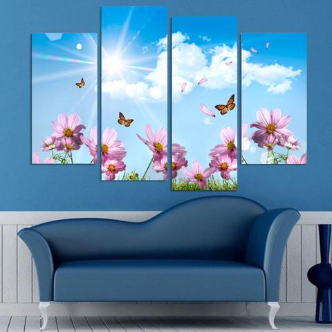 4 Piece Dekorasi Rumah Lukisan Minyak Indah Bunga HD Cetak Di Dinding Kanvas Seni Gambar untuk Ruang Tamu ZC271- INTL 1