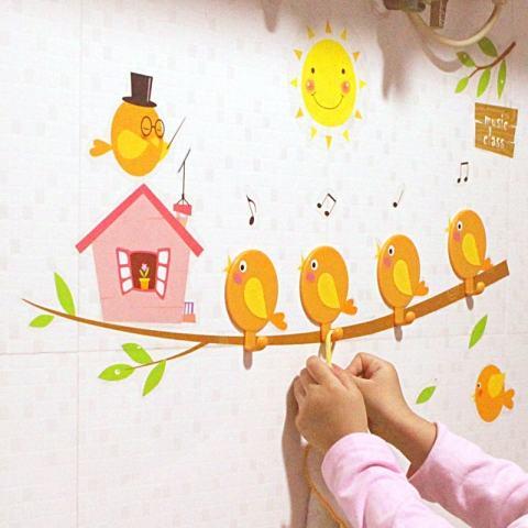 4 Pieces/pack Burung Kartun Lucu Rumah Diseduh Sendiri Stiker Dinding Kait Hangerfor Dekorasi Kamar Anak-anak Hari Anak Hadiah-Intl 1