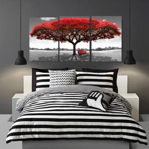 40 Cm X 60 Cm Merah Pohon Modern Lukisan Cat Minyak Di Atas Kanvas Abstrak Seni Tanpa Bingkai Dekorasi Dinding Rumah-Intl 1