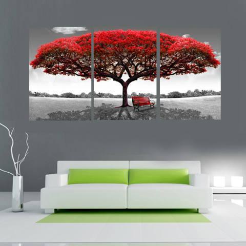 40 Cm X 60 Cm Merah Pohon Modern Lukisan Cat Minyak Di Atas Kanvas Abstrak Seni Tanpa Bingkai Dekorasi Dinding Rumah-Intl 2