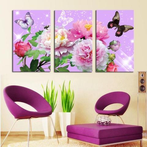 40X60CM3 Panel Bunga Berwarna-warni dengan Butterfly Kanvas Gambar HD Karya Seni Modern Dinding Cetak Lukisan Pada Kanvas Tanpa Bingkai 1