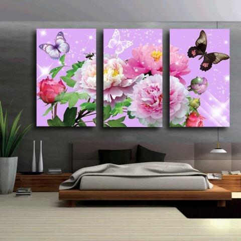 40X60CM3 Panel Bunga Berwarna-warni dengan Butterfly Kanvas Gambar HD Karya Seni Modern Dinding Cetak Lukisan Pada Kanvas Tanpa Bingkai 3