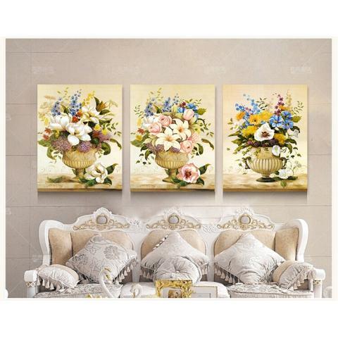 40X60CM3 Gaya Retro Style Art Gambar Saja Dekorasi Di Dinding DIY Dicetak Kanvas Luxury Pastoral Bunga Lukisan Dinding 1
