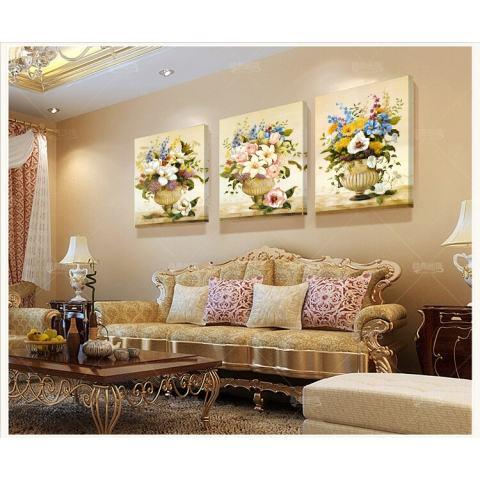 40X60CM3 Gaya Retro Style Art Gambar Saja Dekorasi Di Dinding DIY Dicetak Kanvas Luxury Pastoral Bunga Lukisan Dinding 2