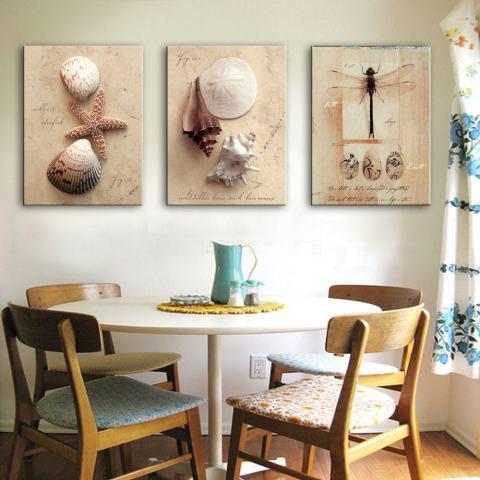 40X60CMNordic 3 Pcs Kanvas Lukisan Dinding Capung Keong Bintang Laut Dekorasi Rumah Gambar Seni Cat Di Kelas Atas Kanvas 1
