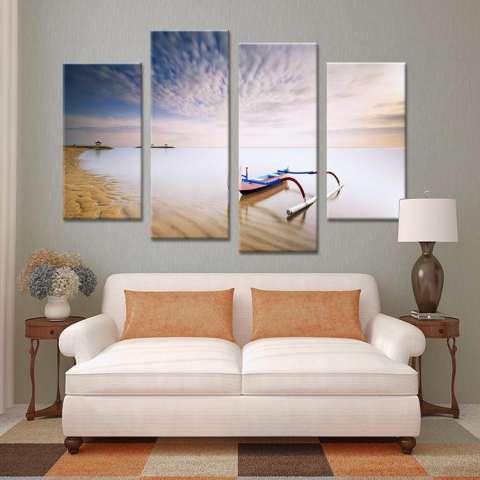 4 Pcs Boat Milik Beach Set Paints Lukisan Dinding Cetak Di Atas Kanvas untuk Dekorasi Rumah Ide Paints Di Dinding Gambar Art No Frame-Internasional 1