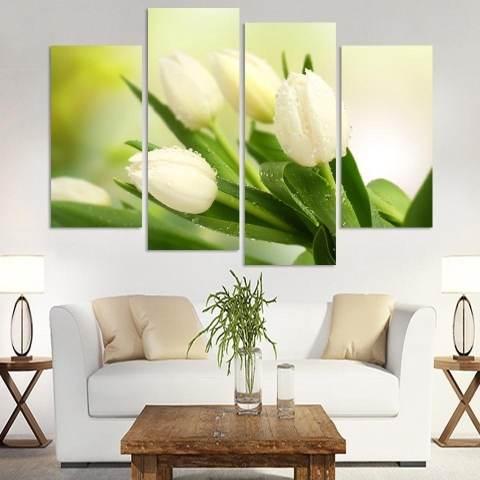 4Pcs Lukisan Cat di Atas Kanvas Gambar Bunga Hiasan Dinding Rumah Modern Minimalis 1