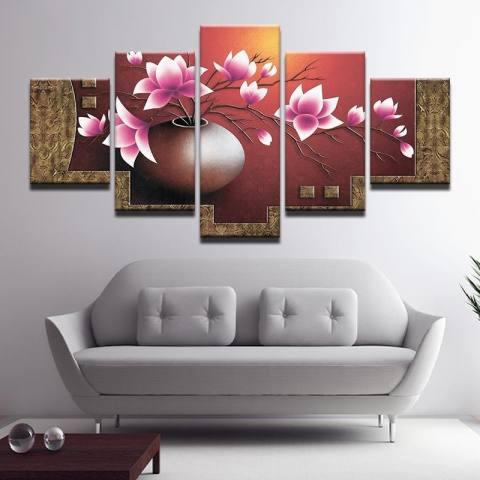 4X6inX2 4X8inX2 4X10inX1 Modular HD Lukisan Kanvas dengan Lukisan Art Oil Painting Peach Dekorasi Rumah Dekorasi Dinding Gambar untuk Ruang Tamu Poster Artwork (TANPA Bingkai) -Intl 3