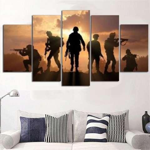 5 Panel Enam Tentara Berjalan Di Sunset Lukisan Kanvas HD Cetak Abstrak Gambar untuk Lukisan Seni Dekorasi Rumah Dinding Tidk-Internasional 3
