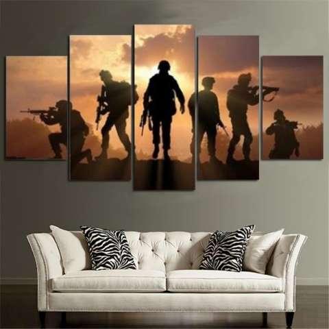5 Panel Enam Tentara Berjalan Di Sunset Lukisan Kanvas HD Cetak Abstrak Gambar untuk Lukisan Seni Dekorasi Rumah Dinding Tidk-Internasional 2