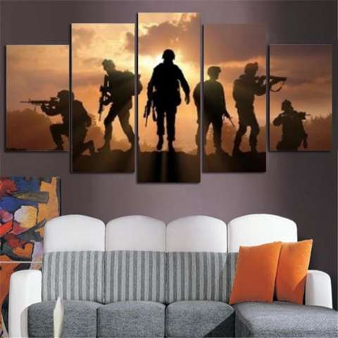 5 Panel Enam Tentara Berjalan Di Sunset Lukisan Kanvas HD Cetak Abstrak Gambar untuk Lukisan Seni Dekorasi Rumah Dinding Tidk-Internasional 1