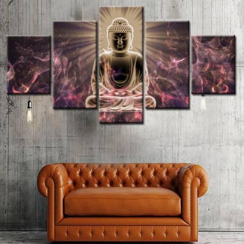5 Panel Unframed Kanvas Budha Lukisan Set, Tinggi Definisi Giclee Karya Seni, ramah Lingkungan Zen Moderen Dinding Seni Dekor Ruang Meditasi Seni 20x35cmx2pcs, 20x45cmx2pcs, 20x55cmx1pc-Internasional 1
