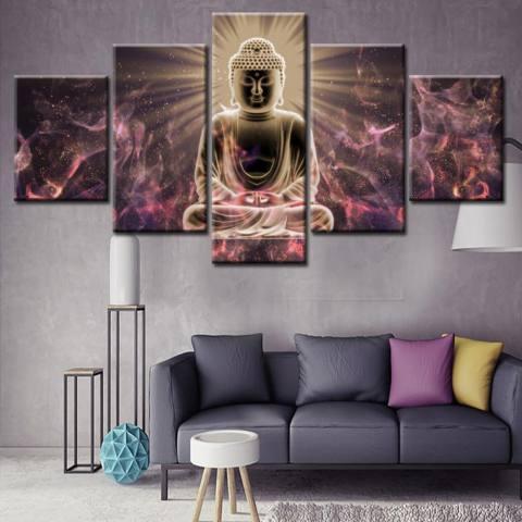5 Panel Unframed Kanvas Budha Lukisan Set, Tinggi Definisi Giclee Karya Seni, ramah Lingkungan Zen Moderen Dinding Seni Dekor Ruang Meditasi Seni 20x35cmx2pcs, 20x45cmx2pcs, 20x55cmx1pc-Internasional 2