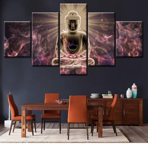5 Panel Unframed Kanvas Budha Lukisan Set, Tinggi Definisi Giclee Karya Seni, ramah Lingkungan Zen Moderen Dinding Seni Dekor Ruang Meditasi Seni 20x35cmx2pcs, 20x45cmx2pcs, 20x55cmx1pc-Internasional 3